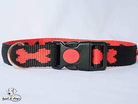 Ошейник, черно-красный, 25мм(пластик)