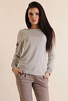 Женская блуза в полоску Баффи серый  ТМ Luzana 42-52 размеры