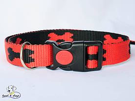 Ошейник, красно-черный, 25мм(пластик)