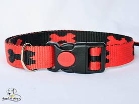 Нашийник, червоно-чорний, 25мм(пластик)