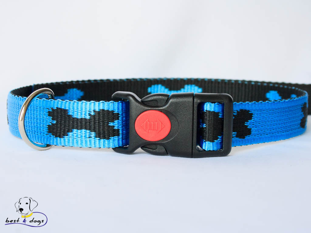 Ошейник, голубой-черный, 25мм(пластик)