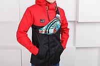 Куртка, ветровка, мужская, весенняя, осенняя, летняя, черный+красный