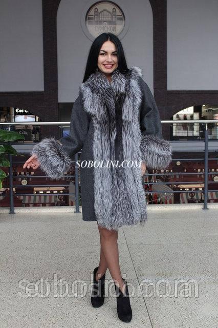 Пальто из альпаки + мех чернобурки Украинского производства