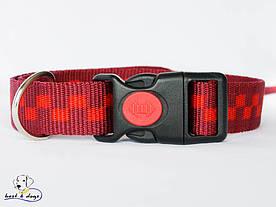 Нашийник, червоні квадрати, 25мм(пластик)