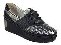 Женские кожаные туфли мокасины на танкетке Estomod