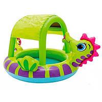 Детский надувной бассейн с навесом Intex 57110 Морской конек, 114л, прочный винил, 188х147х104см, 2,1кг