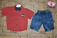 Костюм на лето для мальчика. Рубашка + джинсовые шорты.