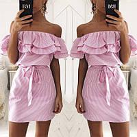 Льняное платье с открытыми плечами и двойным воланом 1153 НН!