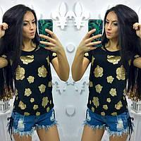 Женская футболки KENZ0 c золотистым рисунком