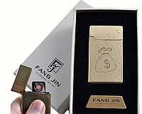 """Спиральная USB-зажигалка """"Доллары"""" №4798D-2, стильный девайс для мужчин, в подарочной упаковке, суперподарок"""