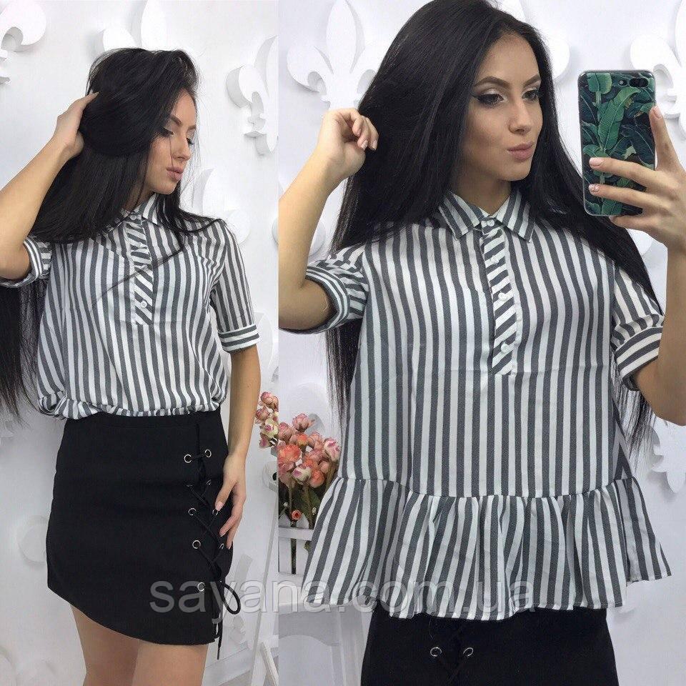 Женская рубашка с баской из сатина в полоску в расцветках. Фк-22-0417