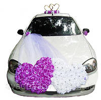 """Украшение для свадебного авто Двойные сердца + кольца """"Сердца"""" на магните с икебаной"""