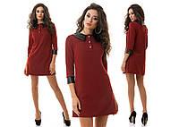 Модное бордовое платье с кожаным воротом и манжетами. Арт-1188/16