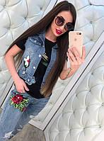 Женский модный джинсовый жилет с нашивками