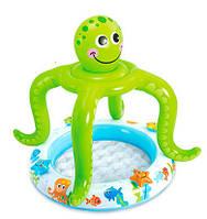 Надувной бассейн для малыша Intex 57115 Рыбки, объем 33 л, 61х22 см, навес в виде осьминога, ПВХ