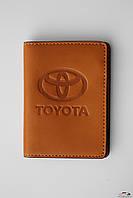 Обложка на права Мини желтая с логотипом Toyota
