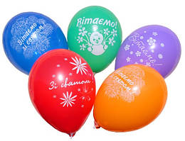 """Воздушные шары """"Вітаємо"""" 12""""(30см) пастель ассорти шелкотрафарет 2 штампа"""