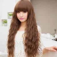 Красивый парик,мокрый эффект,прямая челка.(223)