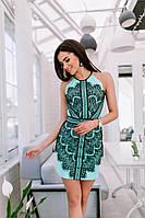 Красивое мини платье с гипюровой отделкой, материал: микродайвинг. Размеры: от 42 до 46.