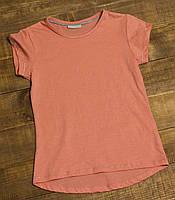 Детская летняя футболка для девочки 6-7 лет коралловая р.116/122