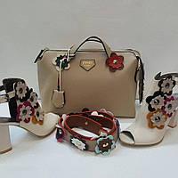 """Набор """"цветочек"""" сумка, обувь цвет: бежевый"""