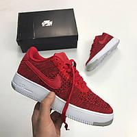 17b9065e Кроссовки Nike Air Force 1 Low Flyknit Red. Живое фото. Топ качество! (