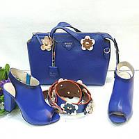Стильный набор обувь, сумка с цветком