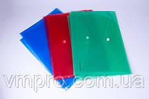 Папка-конверт A4 на кнопке прозрачная mix №38301, папки A4