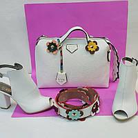 Стильный набор обувь, сумка с цветком цвет: белый