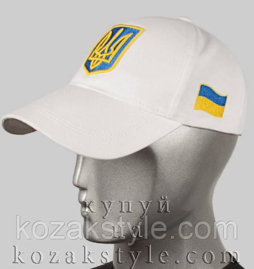 Бейсболка з українською символікою (біла)