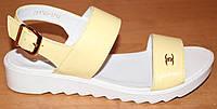 Босоножки женские кожаные кремовые, кожаные босоножки женские от производителя модель ВЛ1703