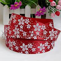 Атласная лента 2,5 см цветы, бордовая