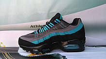 Женские кроссовки Nike Air Max 95 Black/Grey/Blue топ реплика, фото 3