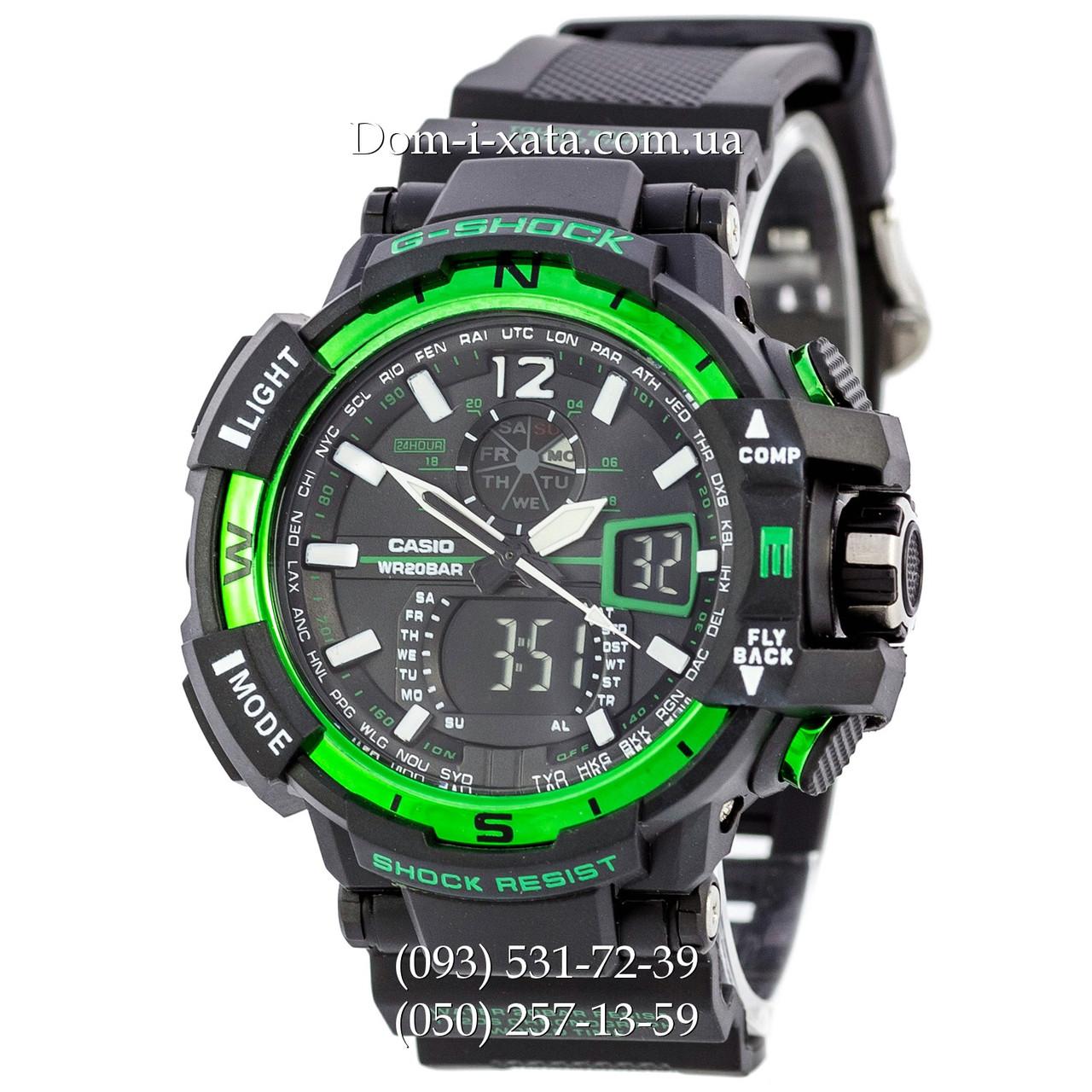Электронные часы Casio G-Shock GW A1100 Black Green, спортивные часы Джи Шок(черно-зеленые), реплика