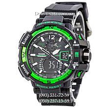 Электронные часы Casio G-Shock GW A1100 Black Green, спортивные часы Джи Шок(черно-зеленые)