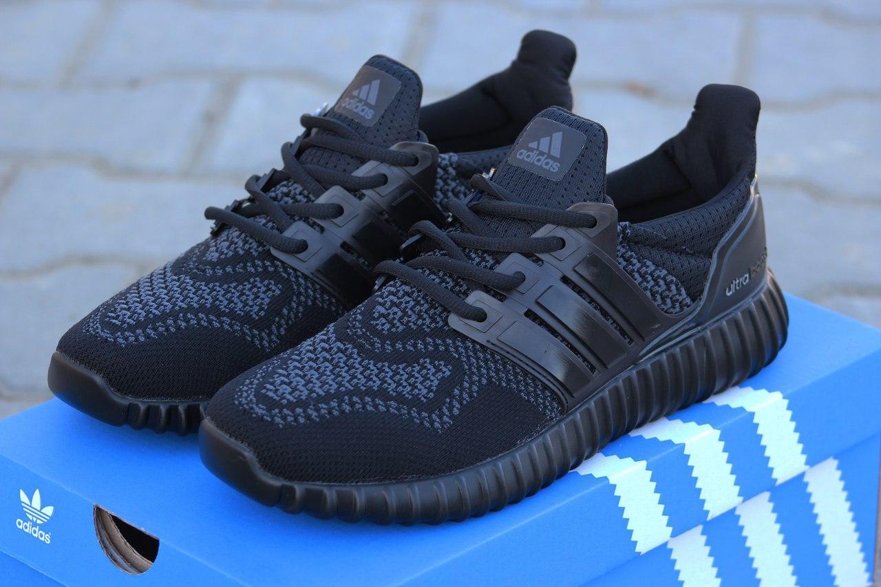 Кроссовки Adidas Ultra boost черные летние, сетка