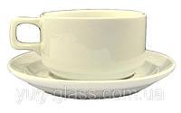 Чашка чайная 280 мл с блюдцем белая ''HR1328''.