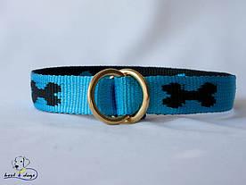 Нашийник-зашморг, блакитний-чорний, 25мм