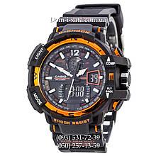 Электронные часы Casio G-Shock GW A1100 Black Orange, спортивные часы Джи Шок(черно-оранжевые), реплика