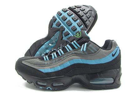 Женские кроссовки Nike Air Max 95 Black/Grey/Blue топ реплика, фото 2