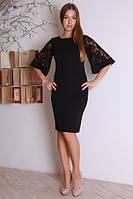 Модное черное платье с пышными кружевными рукавами