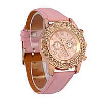 Часы в стразах розовые