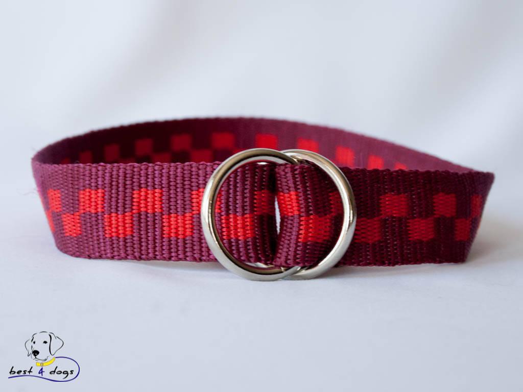 Ошейник-удавка, красные квадраты, 25мм