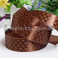 Атласная лента с принтом Gucci, 2,5 см, коричневый