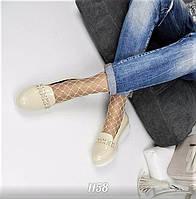 Женские туфли лоферы эко кожа + лак, бежевые / лоферы женские 2017, подошва 3,5 см,  модные