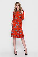 Красное женское платье до колен