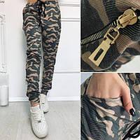 Штаны женские камуфляжные с молниями свободного кроя Хаки, 46