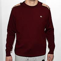 Мужской свитер с заплатками на локтях, бордовый