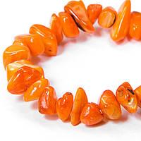 Бусины Перламутр, На нитях, Крошка, Цвет: Оранжевый, Размер: 5~12x5~8x1~6мм, Отверстие 1мм, (УТ100006533)