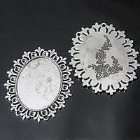 Коннектор-Сеттинг Овальный под Кабошон, Металл, Цвет: Античное Серебро, Размер: 56x49x2мм, Внутри диаметр 40x30м, Отверстие 1мм, (УТ100006336)
